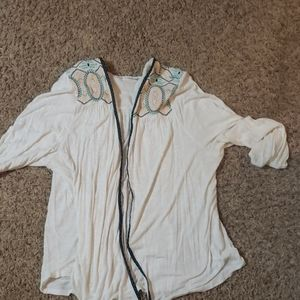 Maurices white cardigan with embroidery detail